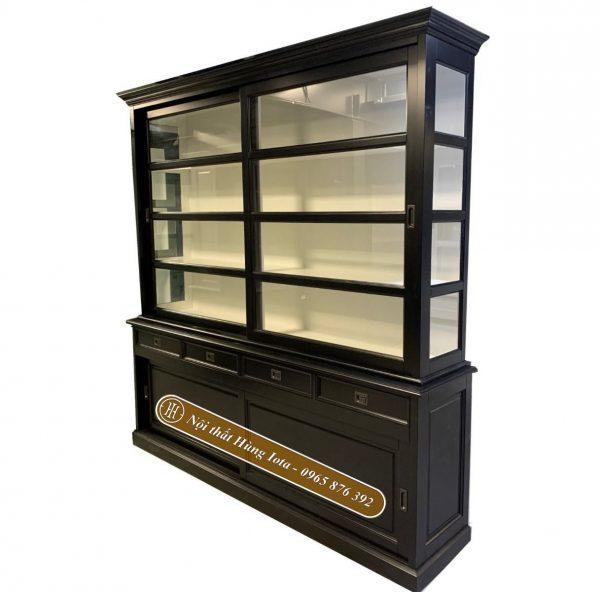 tủ trưng bày sản phẩm cửa kính màu đen hiện đại