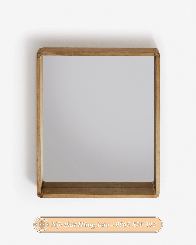 Gương soi phòng tắm treo tường khung gỗ