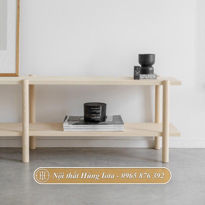 Kệ gỗ trang trí phòng khách đẹp hiện đại