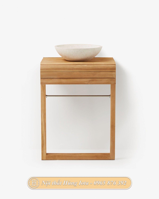 Kệ gỗ đựng chậu rửa mặt lavabo thiết kế đơn giản