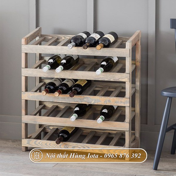 Kệ gỗ nhỏ đựng rượu kiểu dáng đẹp sang trọng ấn tượng KG04