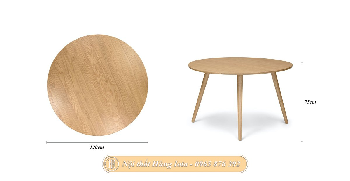 Kích thước bàn gỗ tròn decor