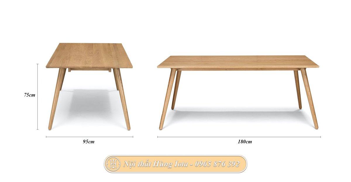 Kích thước của bàn hình chữ nhật