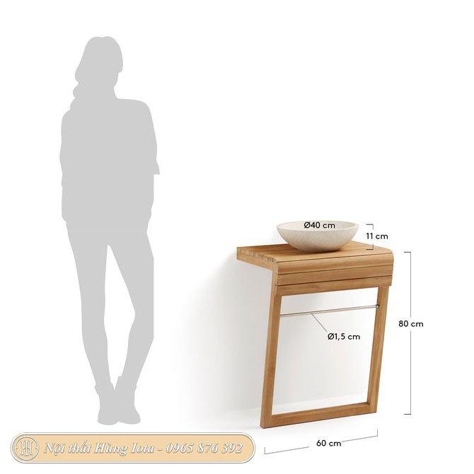 Kích thước kệ gỗ đựng bồn lavabo