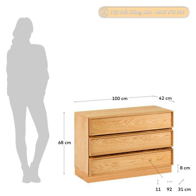 Kích thước tủ gỗ đựng đồ 3 tầng
