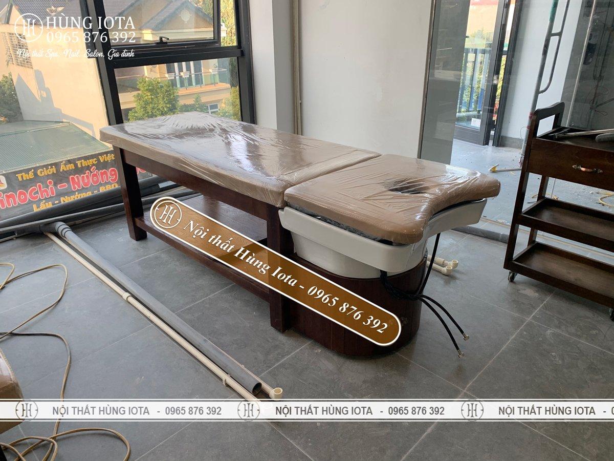 Lắp đặt giường gội đầu spa gỗ sồi tại Vĩnh Phúc