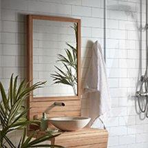 Gương nhà tắm hình chữ nhật đa năng màu nâu gỗ đẹp giá rẻ GNT01