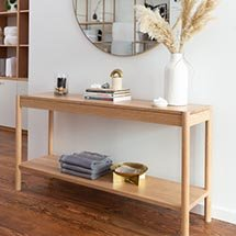 Kệ gỗ hai tầng thiết kế đơn giản phong cách vintage KG02