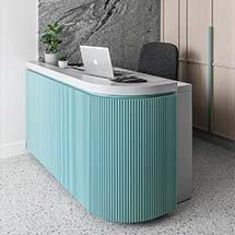 Quầy thu ngân decor màu xanh đẹp giá rẻ tại xưởng QTN34