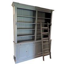 Tủ đựng sách có thang gỗ màu xám bồ câu đẹp độc đáo TSP45