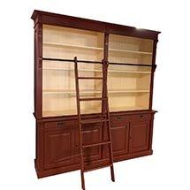 Tủ đựng sách bằng gỗ đẹp có thang 4 tầng màu nâu đỏ TSP49
