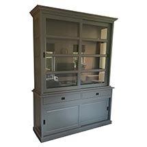 Tủ gỗ cánh kính 4 tầng màu xám decor spa salon cửa hàng TSP74