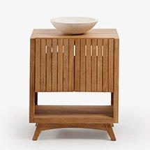 Tủ gỗ decor phòng tắm 2 tầng có cửa nan gỗ đẹp mắt giá rẻ TDD31