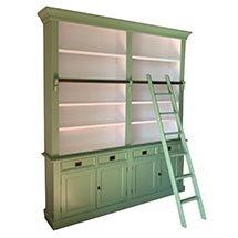 Tủ gỗ đựng sách có thang màu xanh lá độc đáo giá cả cạnh tranh TSP64