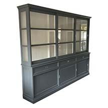 Tủ kính đựng đồ gia đình màu xám đen 3 tầng TSP25 đẹp hiện đại