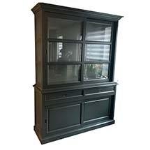 Tủ kính trưng bày đa năng màu xám cho spa, tiệm nail, tiệm tóc TSP86