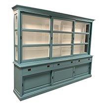 Tủ trưng bày mỹ phẩm giá rẻ màu xanh ngọc cho spa cửa hiệu TSP70