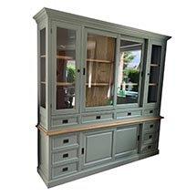 Tủ văn phòng gỗ thông cao cấp màu xanh rêu đẹp nhã nhặn TSP68