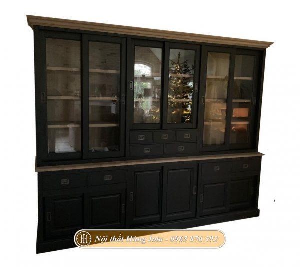 Tủ decor phòng khách nhiều ngăn màu đen sang trọng