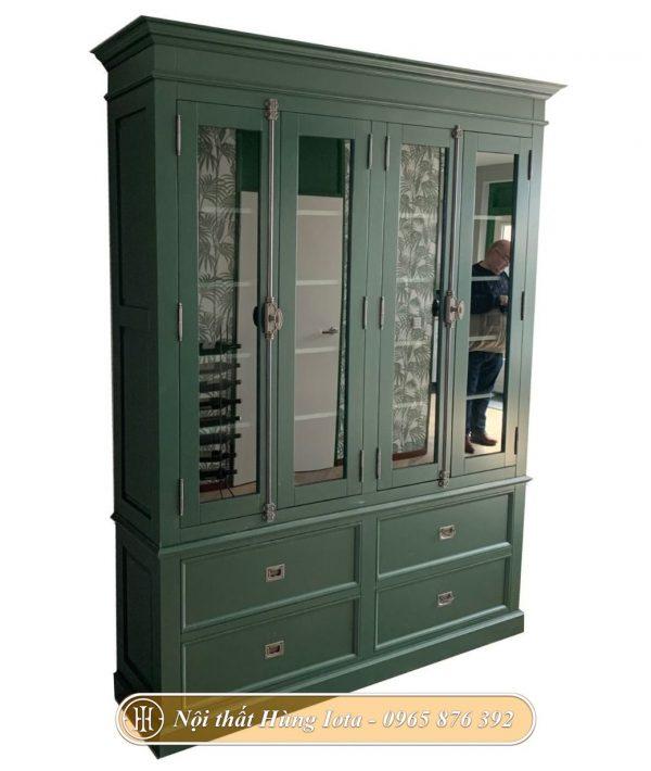 Tủ decor spa màu xanh rêu phong cách cổ điển