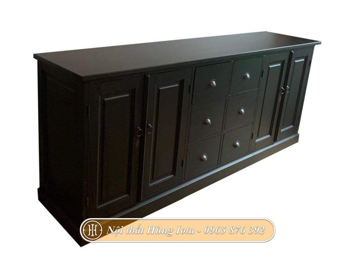 Tủ đựng bát đĩa bằng gỗ màu đen hiện đại