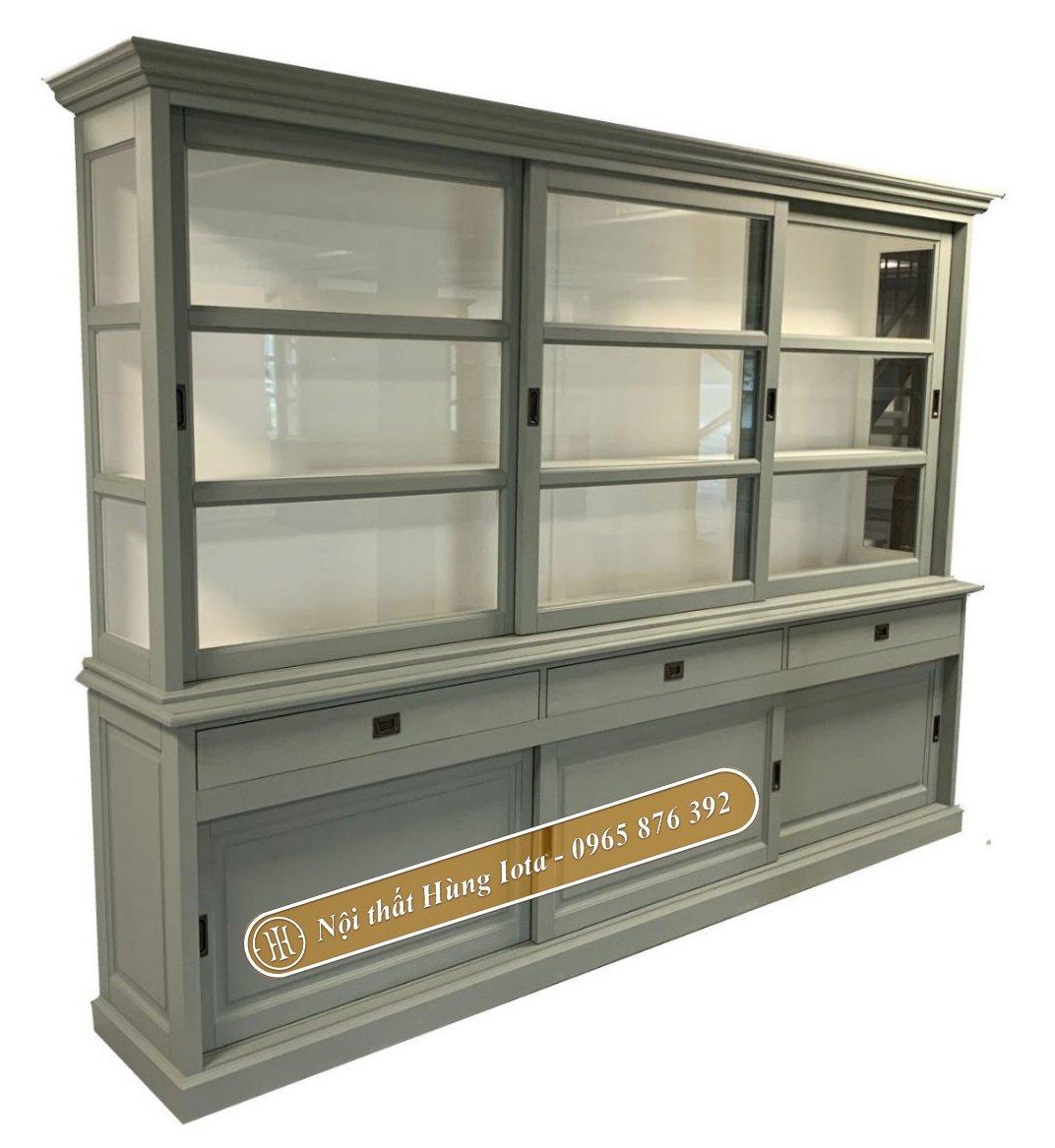 Tủ đựng đồ bằng gỗ thông màu xanh rêu cổ điển