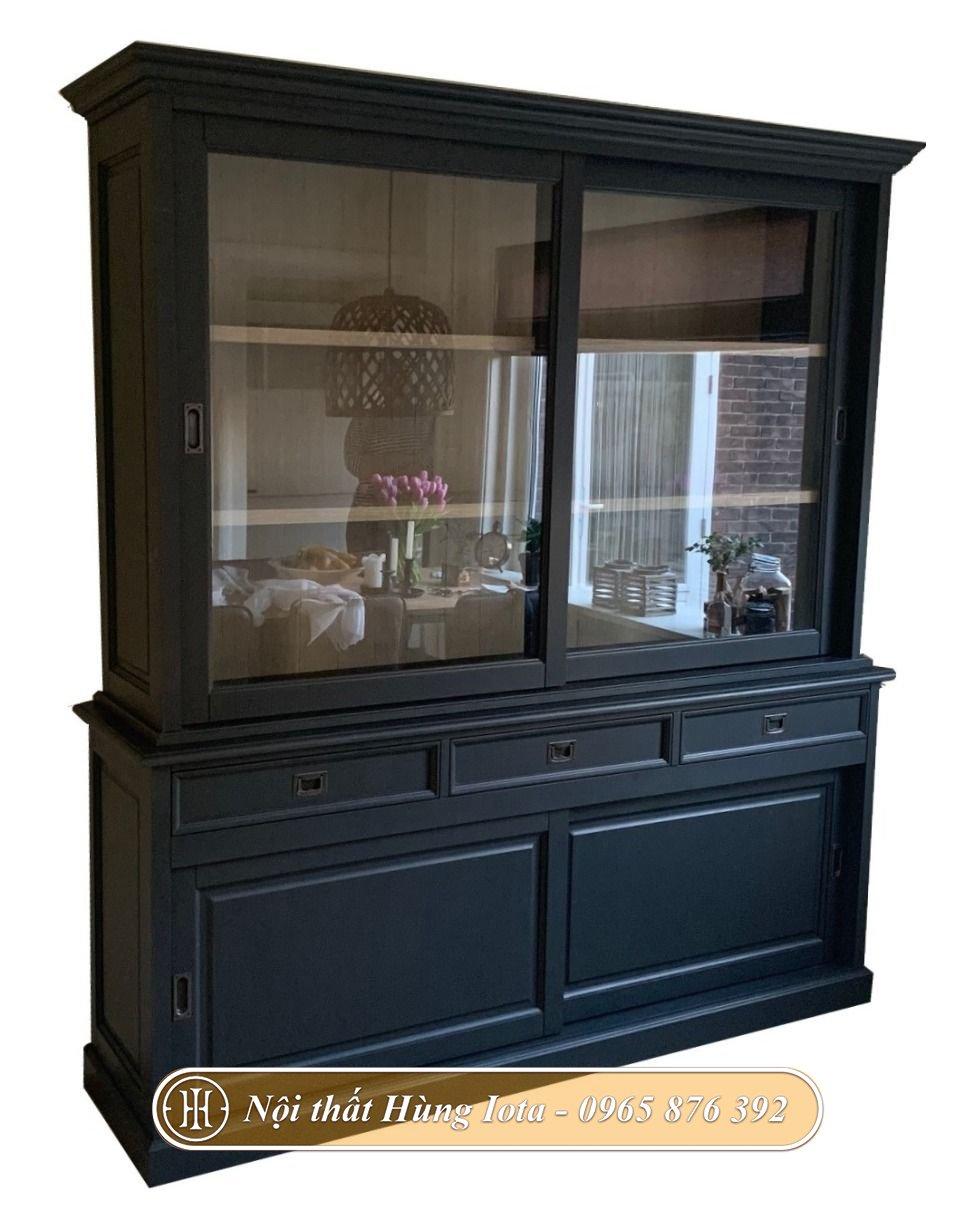 Tủ đựng đồ cho salon tóc màu đen hiện đại