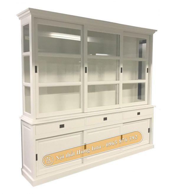 Tủ đựng sản phẩm cửa kính màu trắng tinh tế