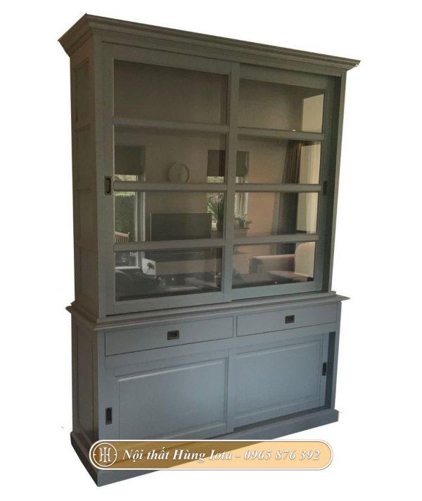 Tủ gỗ cánh kính trượt 4 tầng màu xám đẹp nhã nhặn
