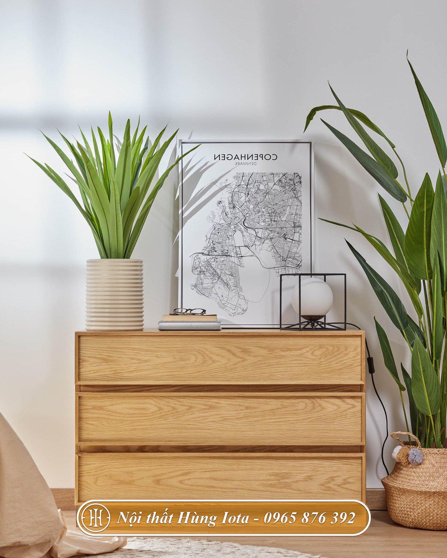 Tủ gỗ decor nội thất phong cách tối giản