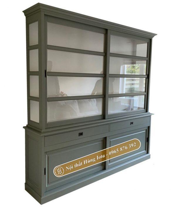 Tủ gỗ đựng đồ 4 tầng cho gia đình màu xanh rêu cửa kính trượt