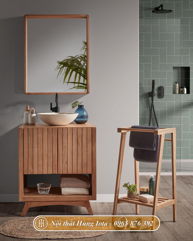 Tủ gỗ đựng đồ decor nhà tắm màu gỗ tự nhiên