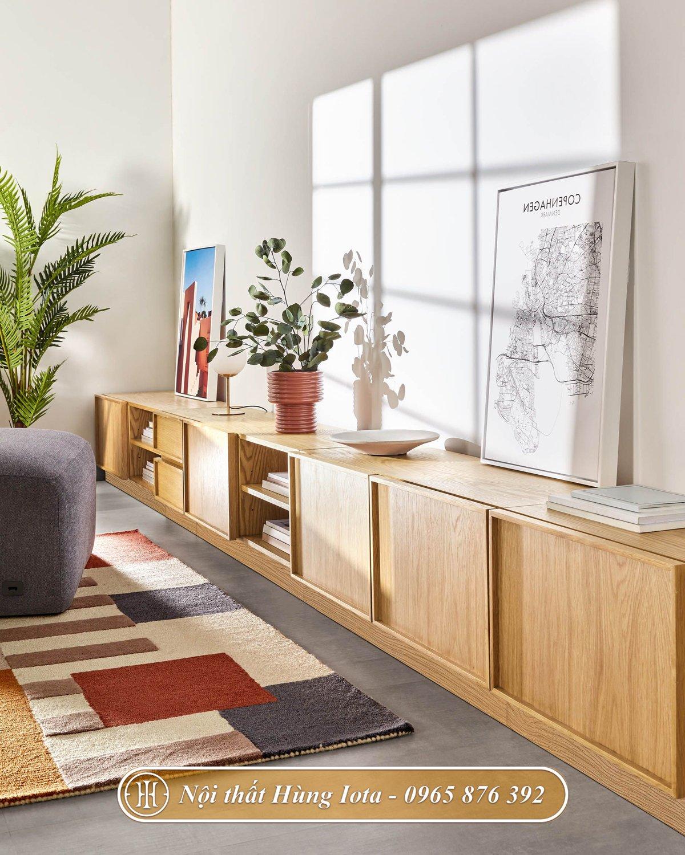 Tủ gỗ trang trí phòng khách đẹp sang trọng