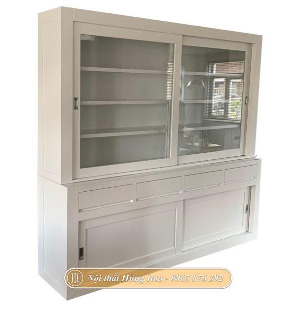 Tủ gỗ văn phòng cửa trượt màu trắng tinh tế