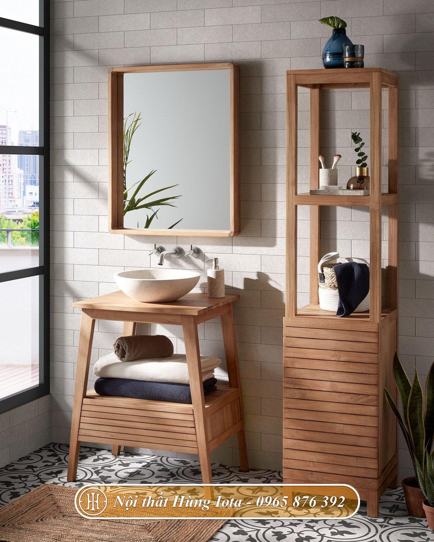 Tủ kệ gỗ nhà tắm đẹp sang trọng