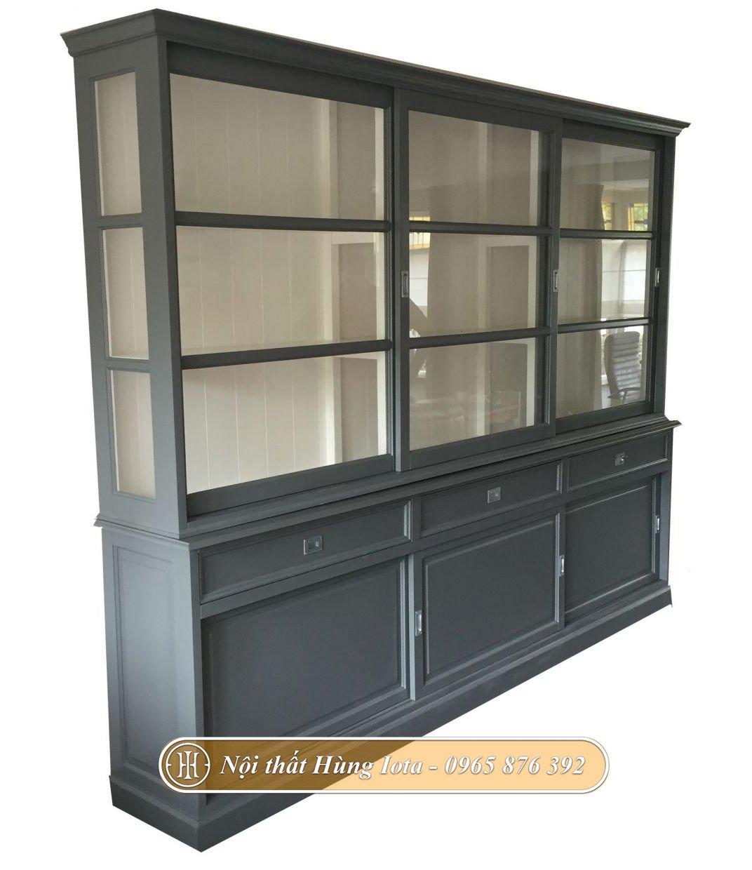Tủ kính đựng đồ cho gia đình màu xám đen 3 tầng