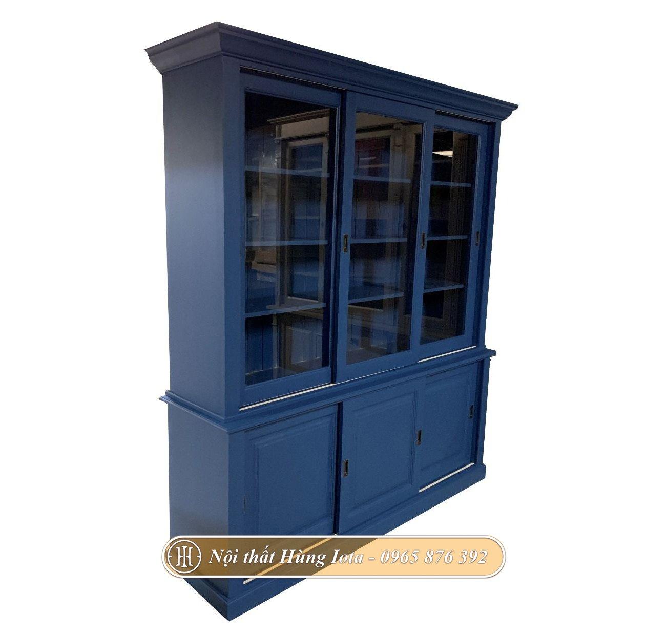 Tủ kính đựng sản phẩm đa năng màu xanh dương đẹp