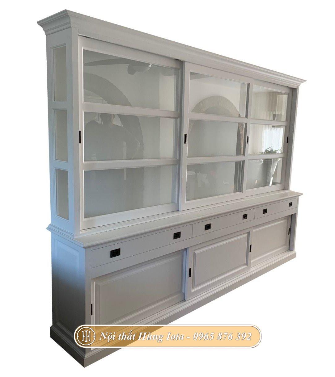 Tủ kính màu trắng 3 tầng size lơn có cửa trượt