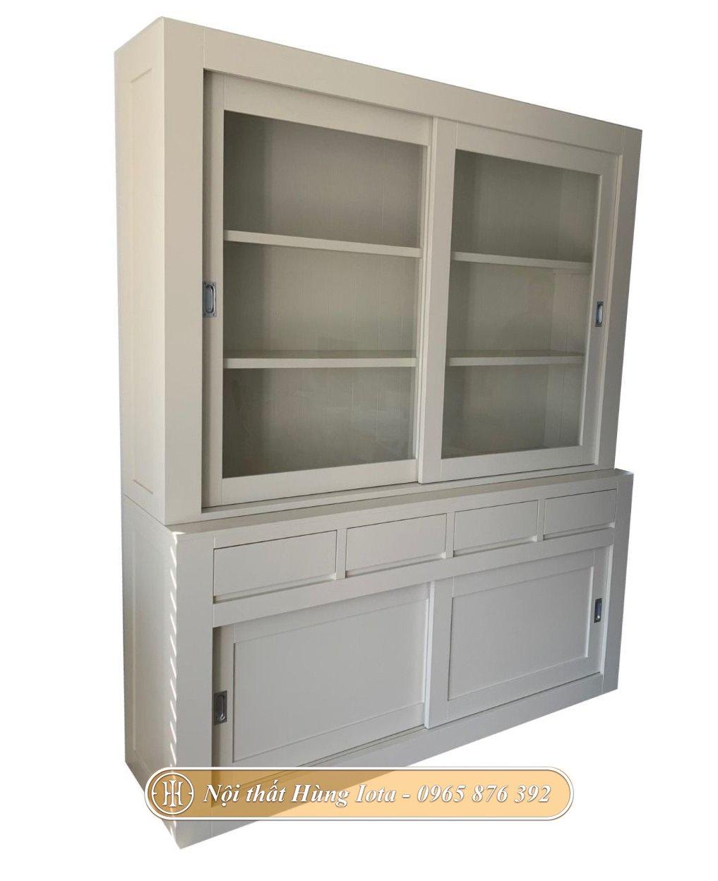 Tủ kính trưng bày 3 tầng màu trắng ngọc trai cửa trượt