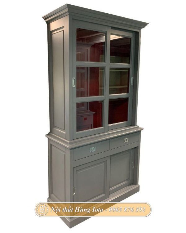 Tủ kính trưng bày sản phẩm nhỏ gọn màu xám nhã nhặn