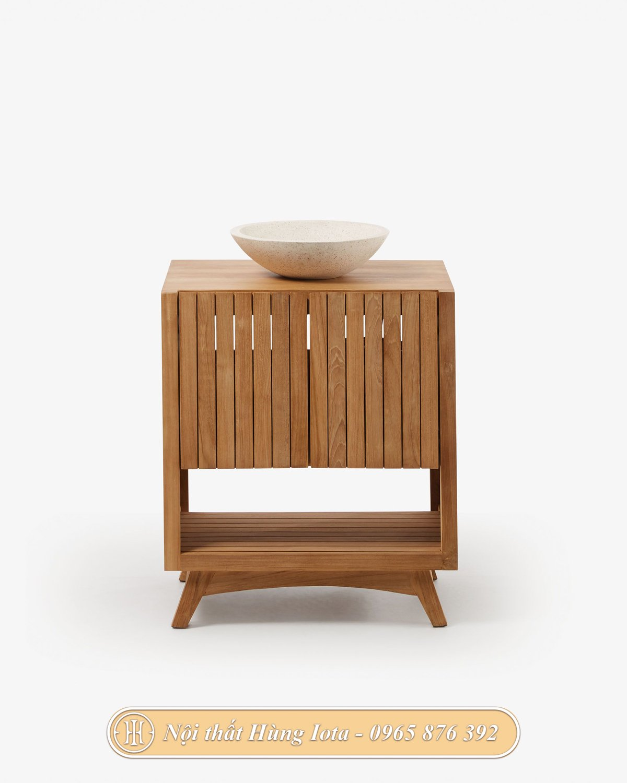 Tủ nan gỗ đựng đồ 2 tầng