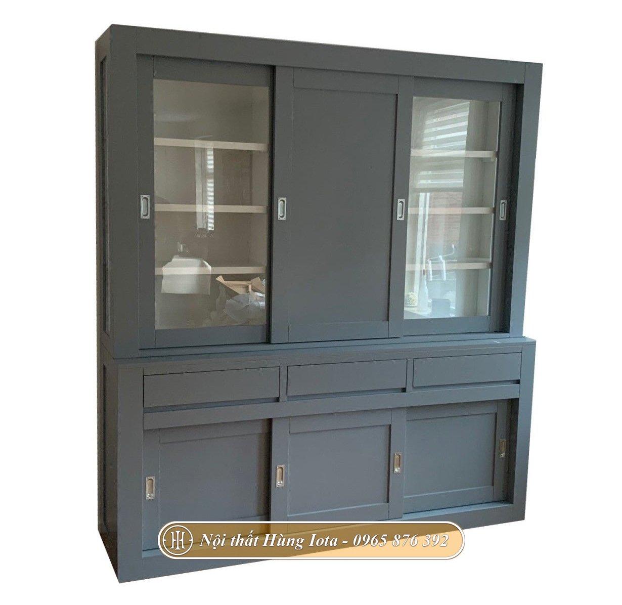 Tủ quần áo gỗ màu xám 4 tầng cửa trượt sang trọng