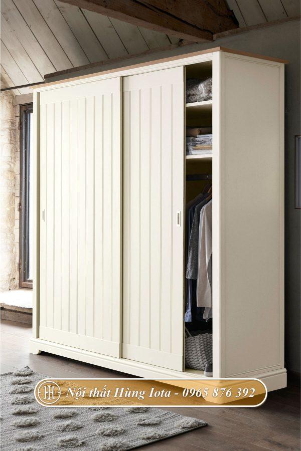 Tủ quần áo màu trắng đơn giản nhã nhặn