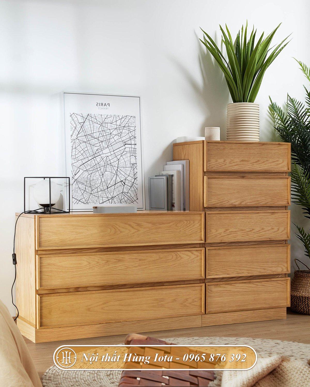 Tủ trang trí phòng khách màu gỗ tự nhiên