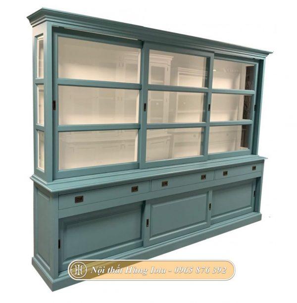 Tủ trưng bày mỹ phẩm cho spa màu xanh ngọc sang trọng