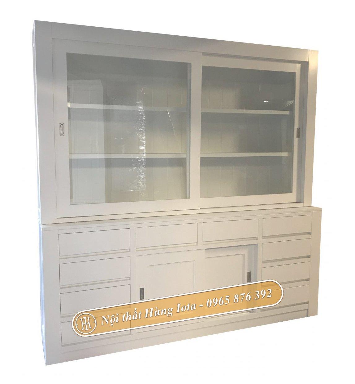 Tủ trưng bày mỹ phẩm đẹp cửa kính lùa màu trắng