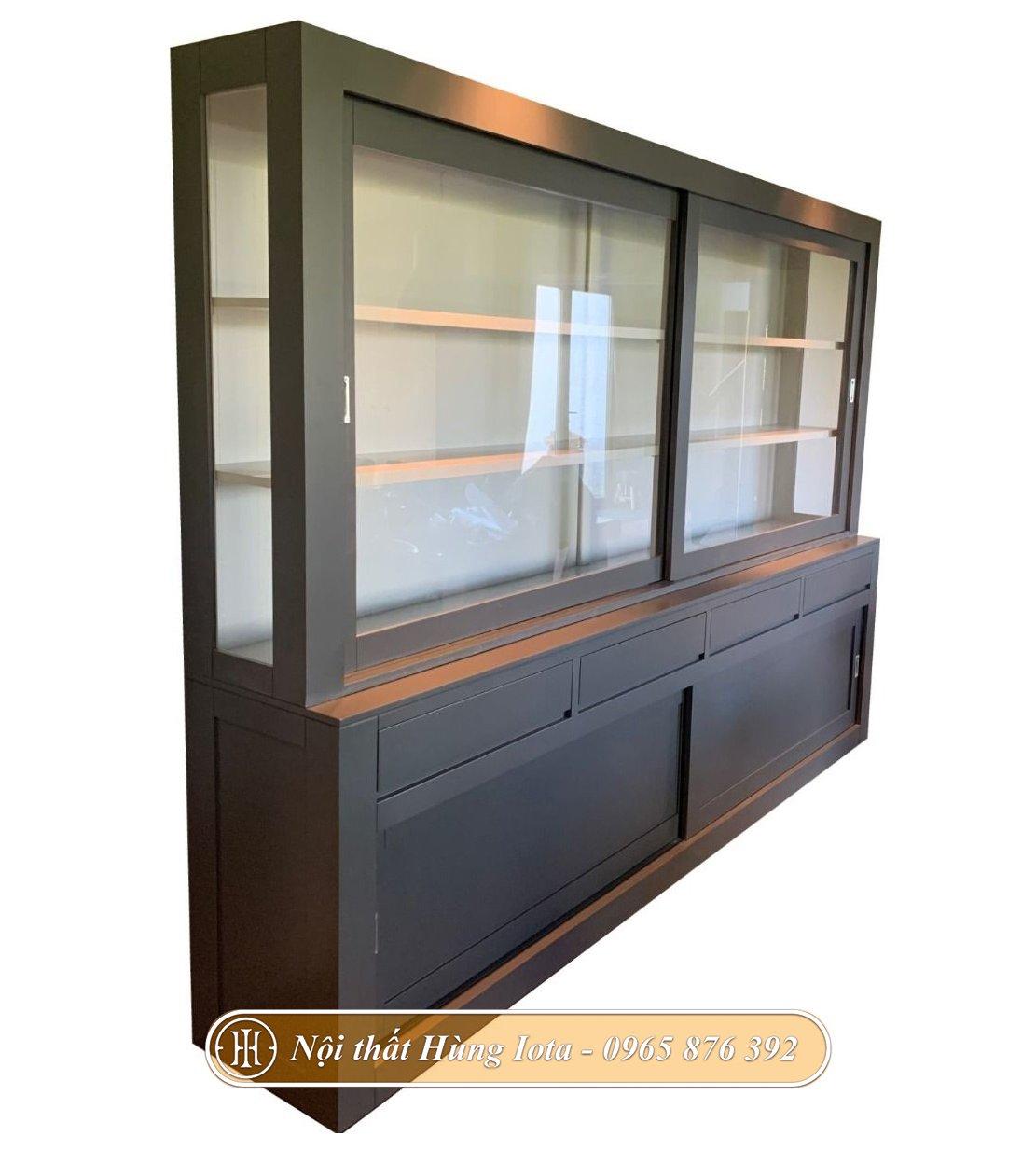 Tủ trưng bày sản phẩm cho cửa hàng màu xám thanh lịch