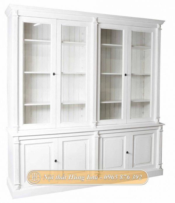 Tủ trưng bày sản phẩm spa 4 tầng màu trắng tinh tế
