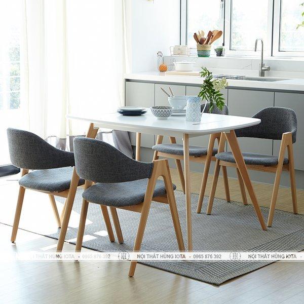 Bàn ghế ăn cơm chân chữ A thiết kế đơn giản