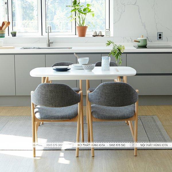 Bàn ghế ăn Compass 4 ghế gỗ tự nhiên